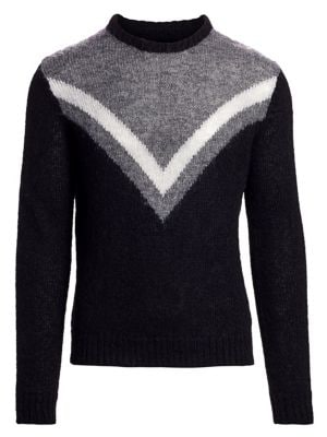 Fuzzy Chevron Crewneck Sweater