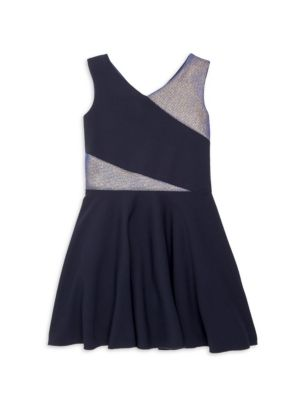 Girl's Mixed Media Faux-Wrap Dress
