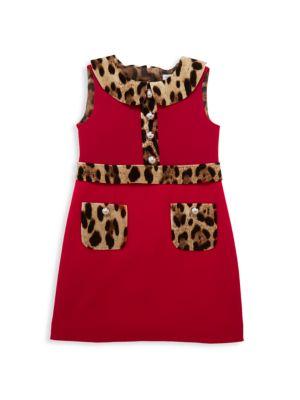 Little Girl's & Girl's Leopard-Collar Sleeveless Dress