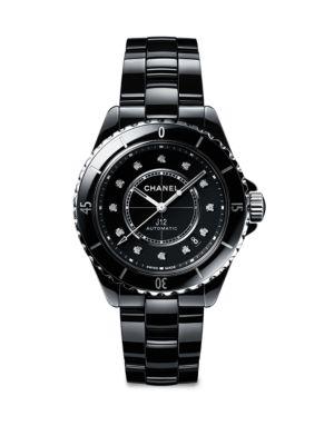 J12 Black Ceramic, Stainless Steel & Diamond Calibre 12.1 Bracelet Watch