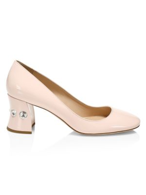 MIU MIU | Rocchetto Bejeweled Heel Patent Leather Pumps | Goxip