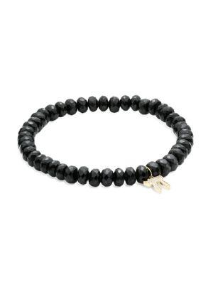 Chai 14K Yellow Gold & Diamond Beaded Charm Bracelet