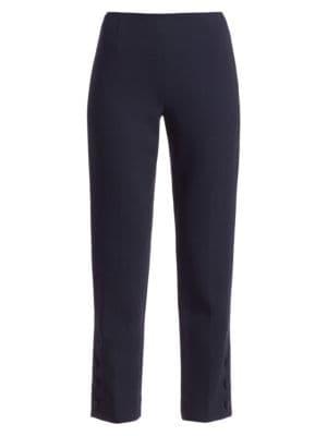 Button Detail Wool Crepe Pants