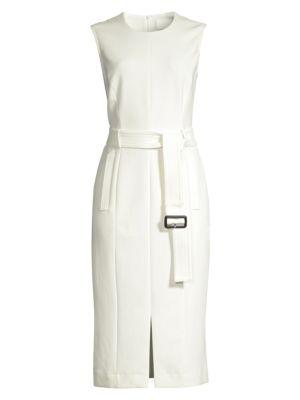 HUGO BOSS | Dadoria Sleeveless Ponte Belted Sheath Dress | Goxip