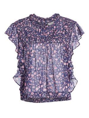 Layona Flutter-Sleeve Floral Top