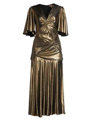 Gathered Pleated Metallic Midi Dress