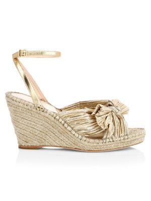 LOEFFLER RANDALL | Charley Knotted Metallic Wedge Sandals | Goxip