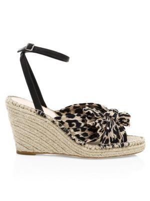 LOEFFLER RANDALL | Charley Knotted Animal Print Wedge Sandals | Goxip
