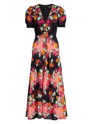 SALONI | Lea Floral Silk Long Dress | Goxip