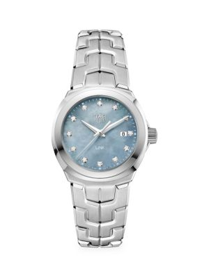 Link 32MM Stainless Steel, Grey Mother-of-Pearl & Diamond Quartz Bracelet Watch