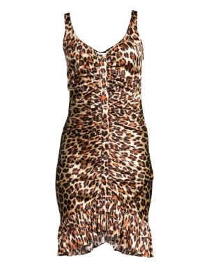 CAROLINE CONSTAS | Poppy Leopard Satin Dress | Goxip