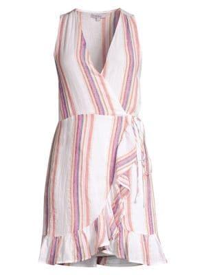 RAILS | Madison Striped Sleeveless Wrap Dress | Goxip