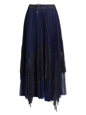 Lace Pleated Slit Midi Skirt