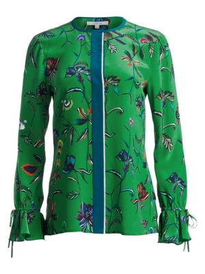 Floral Silk Bell-Sleeve Blouse