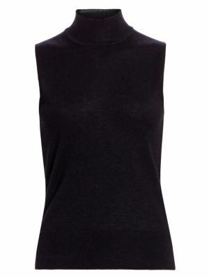 COLLECTION Sleeeveless Mockneck Cashmere Knit