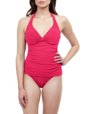 Ruched Halter Tankini Top