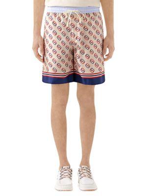 Oval Interlocking G Print Silk Shorts