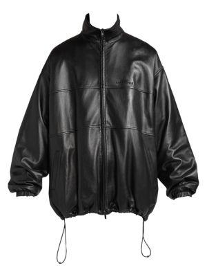 Oversized Leather Track Jacket
