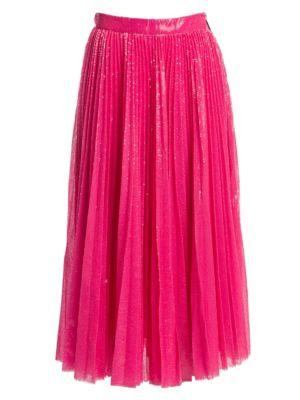 MSGM | Pleated Sequin Midi Skirt | Goxip