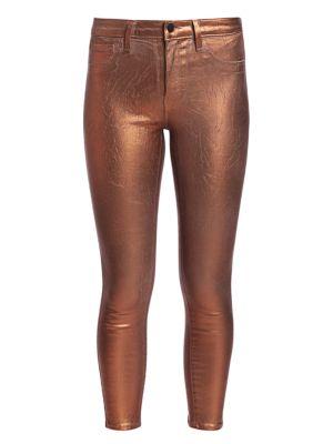 Margot Metallic High-Rise Skinny Metallic Jeans