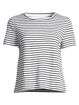 EILEEN FISHER | Striped Organic Linen Jersey Tee | Goxip