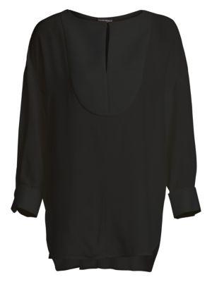 Bib-Front Silk Tunic Blouse