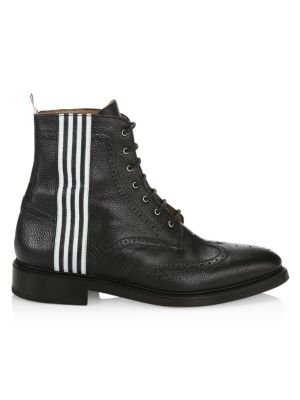 Striped Pebbled-Leather Wingtip Boots