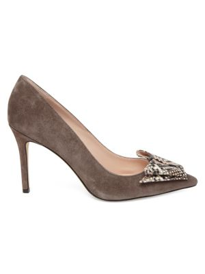 KATE SPADE NEW YORK | Vanna Snakeskin Embossed Leather & Suede Point Toe Pumps | Goxip