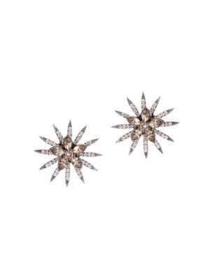 Silvertone Crystal Flower Sunburst Stud Earrings