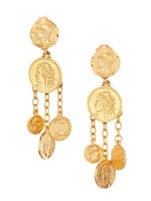 Goldtone Chandelier Coin Drop Earrings