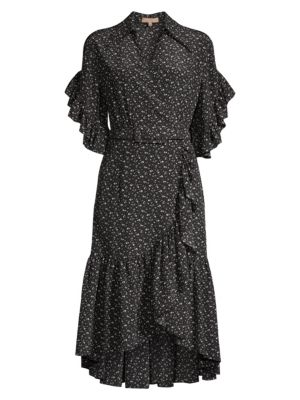 Belted Silk Ruffle Wrap Dress