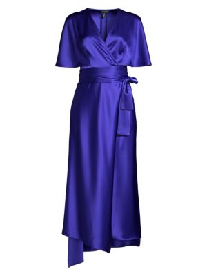 Dammeriah Satin Cape Wrap Dress