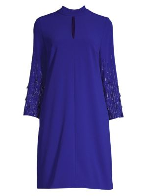 Duavah Beaded-Sleeve Crepe Dress