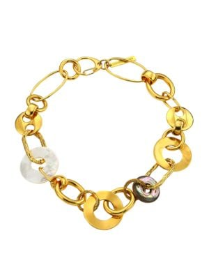 Solistic Goldplated, Mother-Of-Pearl & Abalone Disc Collar Necklace
