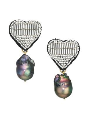 French Heart Goldplated, Freshwater Pearl & Beaded Clip-On Drop Earrings