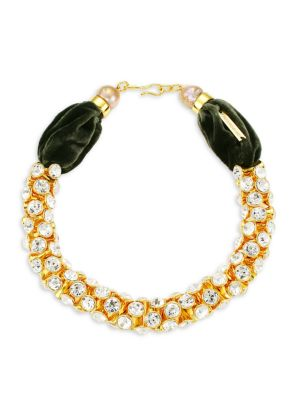 Emerald Sky 18K Yellow Goldplated, Crystal & 13-15MM Freshwater Pearl Collar Necklace