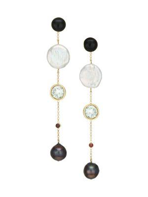 Bon Vivant Goldplated, Freshwater Pearl & Multi-Stone Linear Drop Earrings