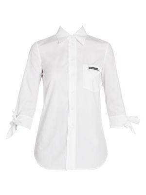 Tie-Sleeve Poplin Button Down Shirt