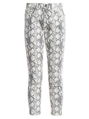 Ali High-Rise Cigarette Python-Print Jeans