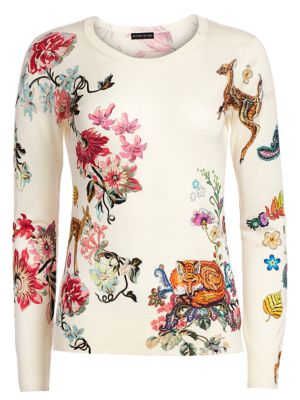 Bambi Floral Print Silk & Cashmere Sweater
