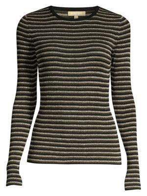 Stripe Long-Sleeve Rib-Knit Sweater