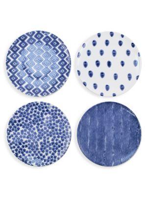 Viva Santorini 4-Piece Ceramic Assorted Dinner Plate Set