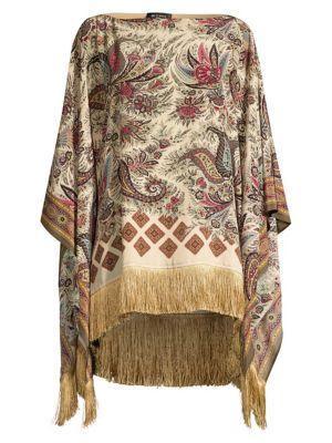 Fringed Paisley Silk Poncho
