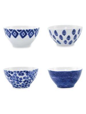 Viva Santorini 4-Piece Assorted Ceramic Cereal Bowl Set