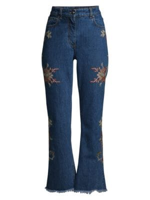 Floral Embroidered Bootcut Jeans