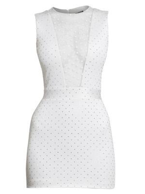 Sleeveless Studded Jersey Mini Dress