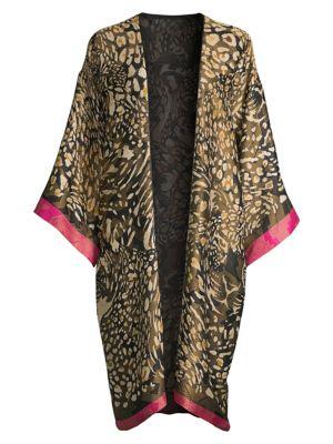 Leopard Print Silk-Blend Robe