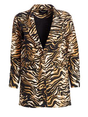 Andes Tiger-Print Cotton Twill Blazer