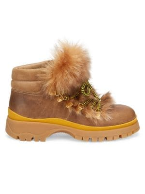 Shearling-Trim Leather Hiking Boots