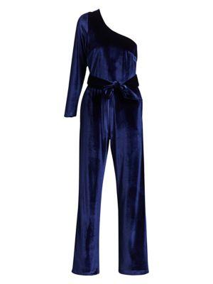 One-Shoulder Velvet Belted Jumpsuit